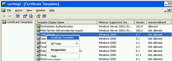Windows ca template web server and private key export booches duplicate certificate template yadclub Gallery