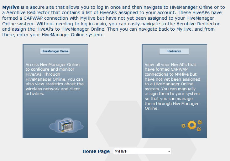 AeroHive - access to MyHive landing page | Booches nl